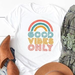 GOOD VIBES ONLY Graphic Tee - WHITE